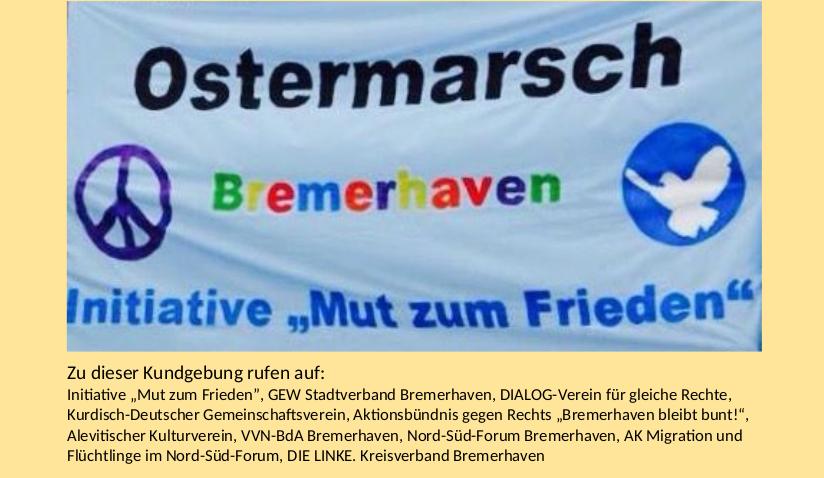 Friedenskundgebung Bremerhaven am 03.04.2021 um 11.00 Uhr