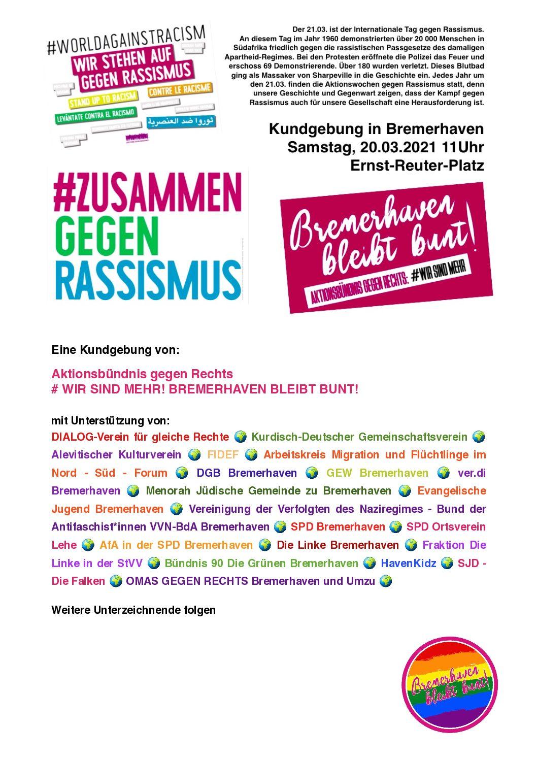 Zusammen gegen Rassismus – Kundgebung am 20.03.2021 um 11.00 Uhr